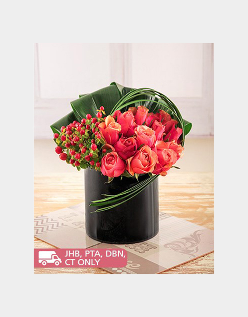 anniversary: Roses and Hypericum in a Black Cylinder Vase!