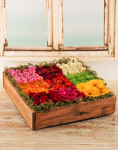 house-warming: Roses, Mini Gerberas & Sprays in a Wooden Crate!