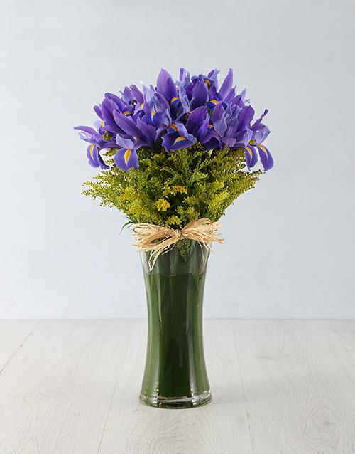 irises: Iris & Golden Rod in a Vase!