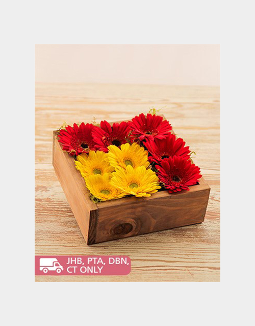 wooden-crates: Gerberas in a Wooden Box!