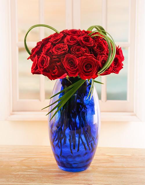 flowers: 30 Red Ethiopian Roses in Blue Vase!