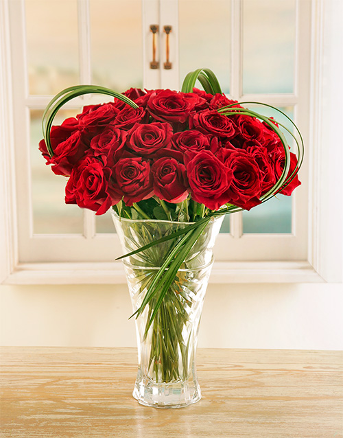 roses: Red Ethiopian Roses in Crystal Vase!