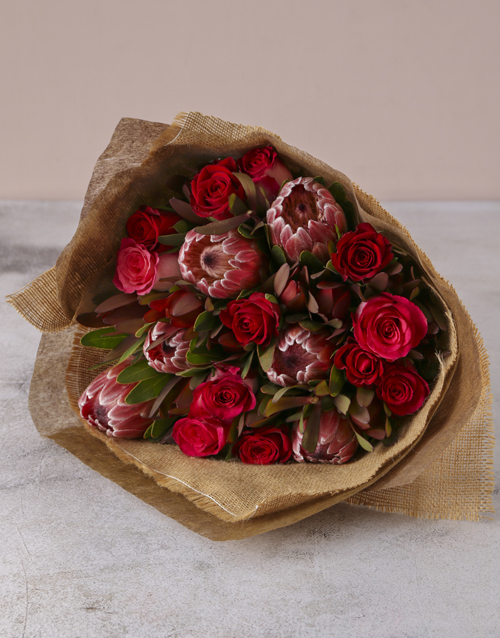 proteas: Red Rose & Protea Medley Bouquet!