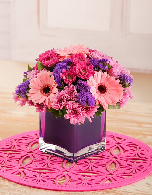 mixed: Pink and Purple Gerberas and Sprays in Purple Vase!