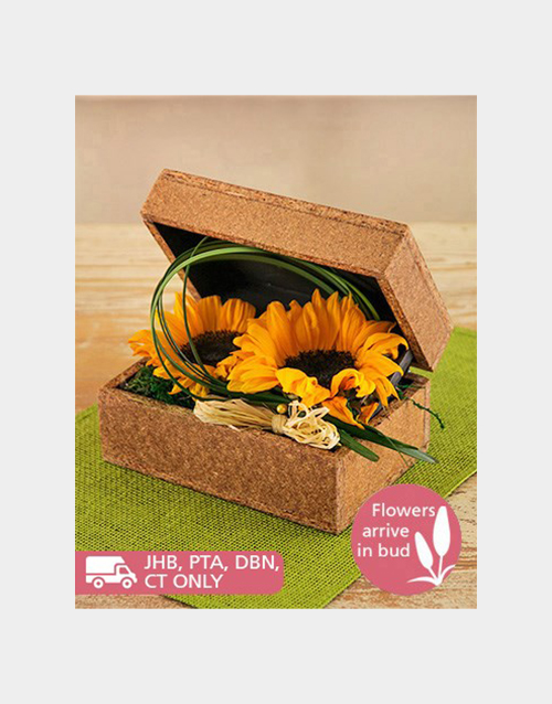 sunflowers: Sunflowers in a Wooden Box!