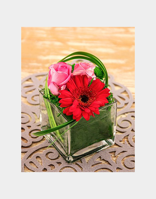 prices: Gerbera and Roses in a Square Vase!
