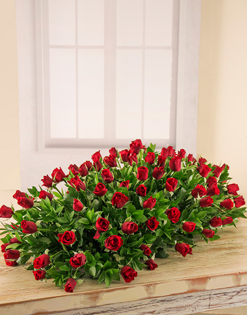 colour: Red Roses Coffin Spray!