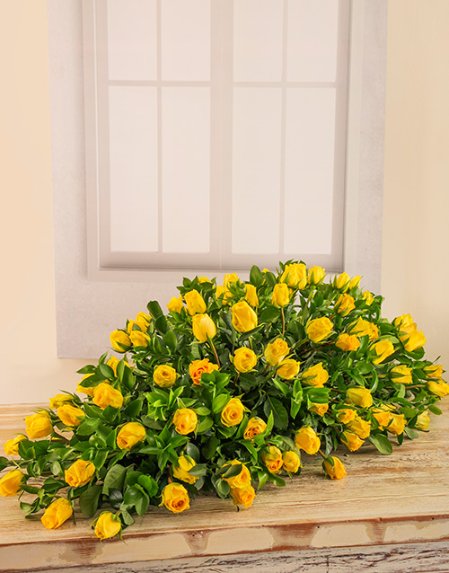 colour: Yellow Rose Coffin Display!