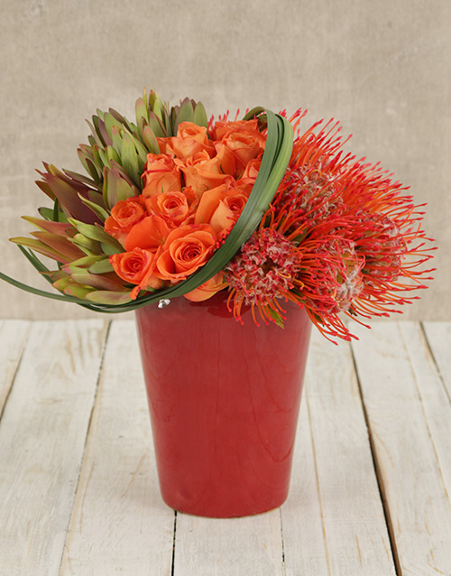 proteas: Pincushions and Roses in Red Pottery Vase!