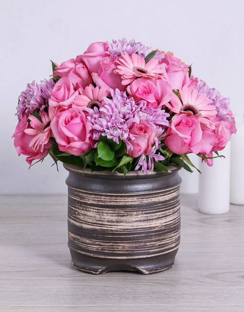 sympathy: Pretty Pink Sprays, Roses and Gerberas in a Pot!