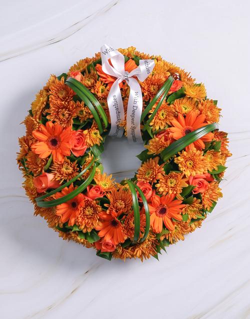 sympathy: Orange Roses and Gerberas Wreath!