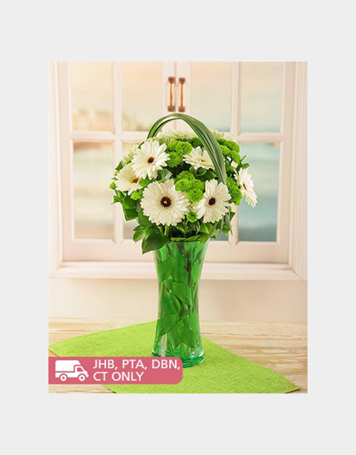 coloured-vases: Gerberas and Sprays in a Green Vase!
