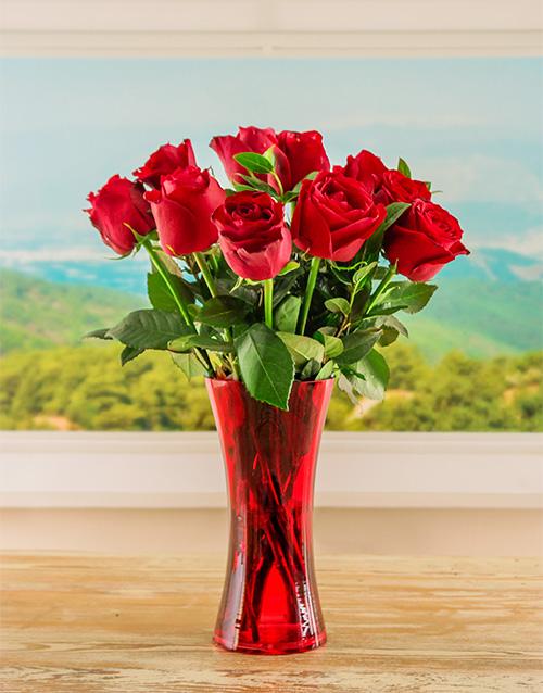 roses: Red Ethiopian Roses in Red Vase!