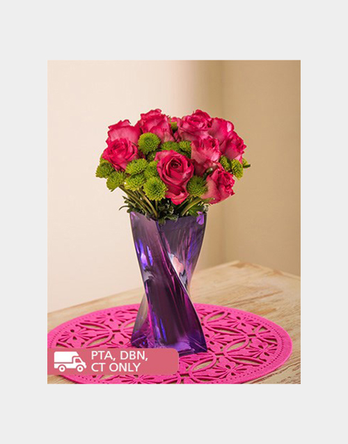 coloured-vases: Pink Roses and Sprays in a Purple Twisty Vase!