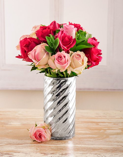coloured-vases: Mixed Pink Roses in a Silver Vase!