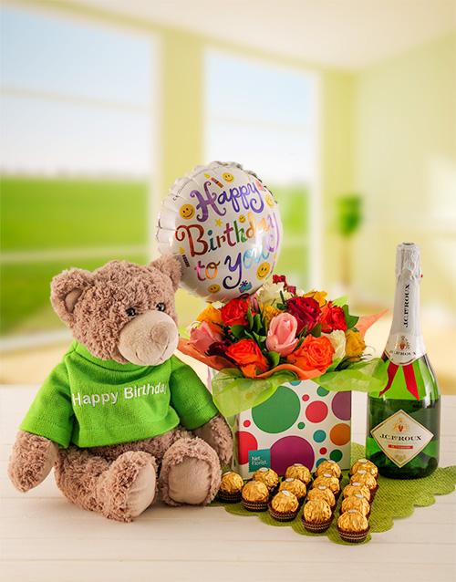 teddy-bears: Mixed Roses, Birthday Celebration Box!