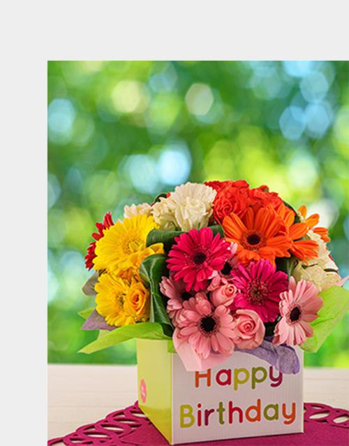 in-a-box: Mixed Gerbera & Rose Birthday Box!