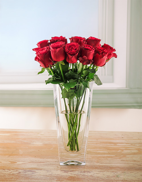 luxury: Candy Red Rose Arrangement in Crystal Vase!
