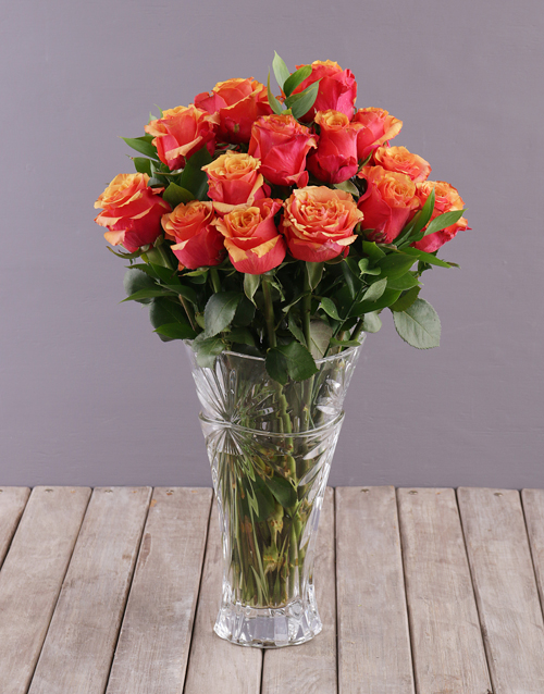flowers: Sunset Rose in a Crystal Vase!