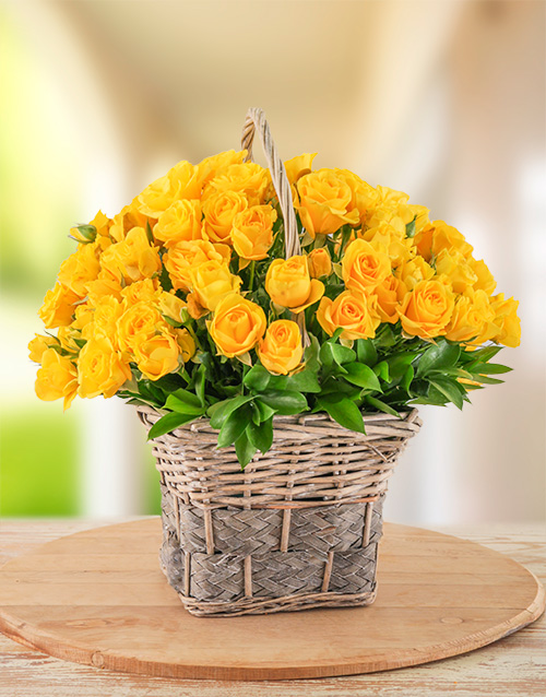 roses: 30 Yellow Kenyan Cluster Roses in a Basket!