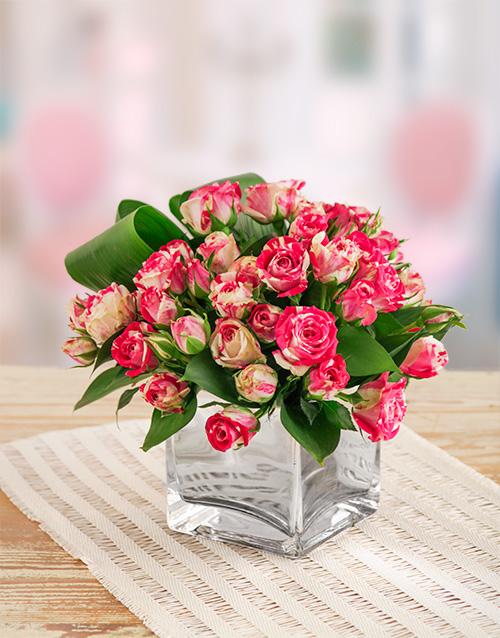 good-luck: Pink Kenyan Cluster Roses in a Silver Vase!