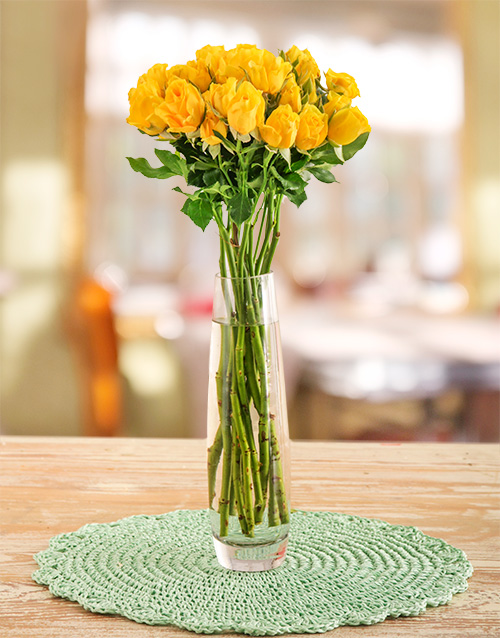 colour: Yellow Kenyan Cluster Roses in a Vase!