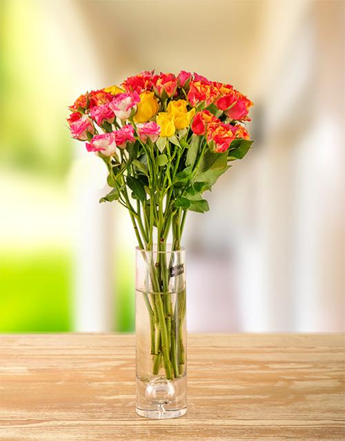 roses: Mixed Kenyan Cluster Roses in a vase!