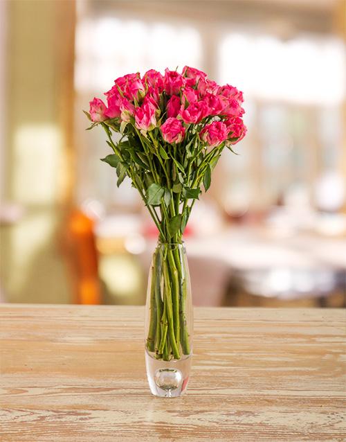 roses: Pink Kenyan Cluster Roses in a Vase!