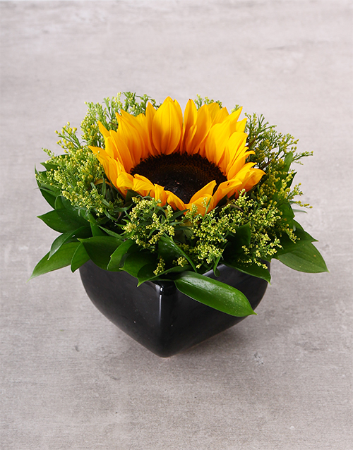 prices: Sunflower In Black Ceramic Vase!