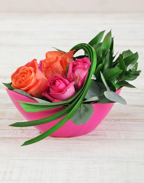 roses: Roses and Leriopi in Pink Boat Vase!