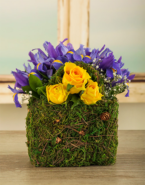 basket: Purple and Yellow Iris Bag!