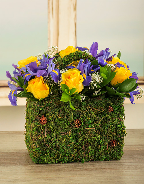 flowers: Iris and Rose Basket!