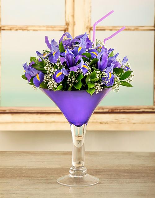colour: Iris Martini Cocktail Arrangement!