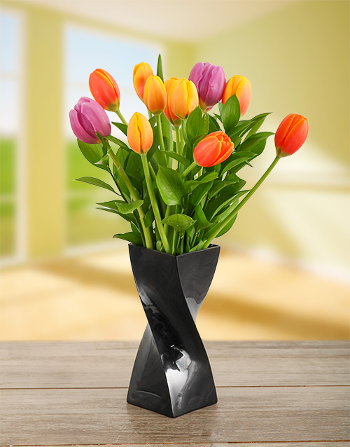 coloured-vases: Mixed Tulips in a Black Twisty Vase!