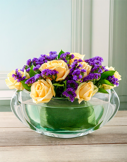 colour: Luxurious Flowers in Crystal Bowl!