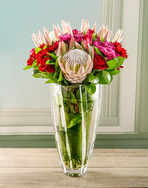proteas: King Proteas in Diamond Crystal Vase!