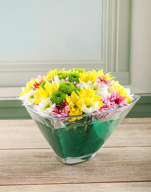 crystal-vases: Opulent Spray Arrangement in Crystal Bowl!