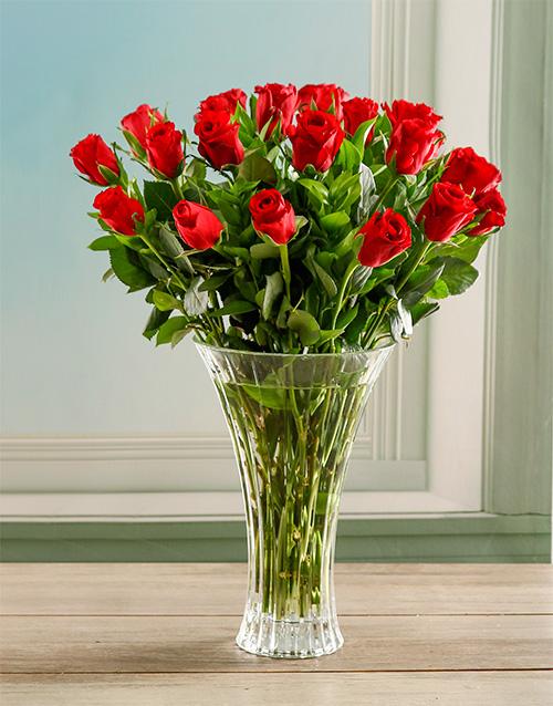 luxury: Red Romance Rose Crystal Vase!