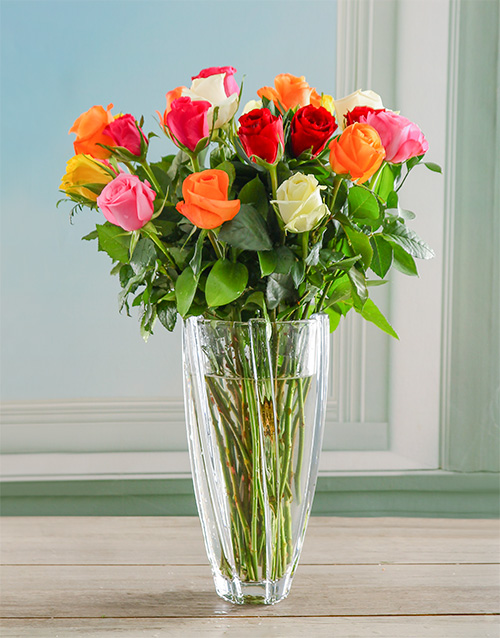 roses: Mixed Roses in Infinity Crystal Vase!
