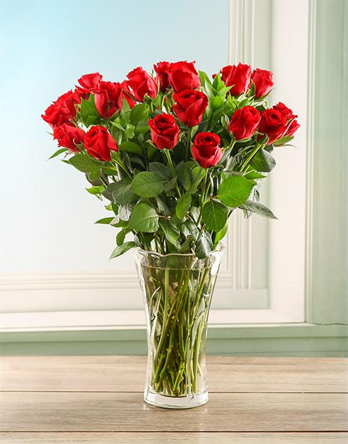 flowers: Scarlet Roses in a Crystal Vase!
