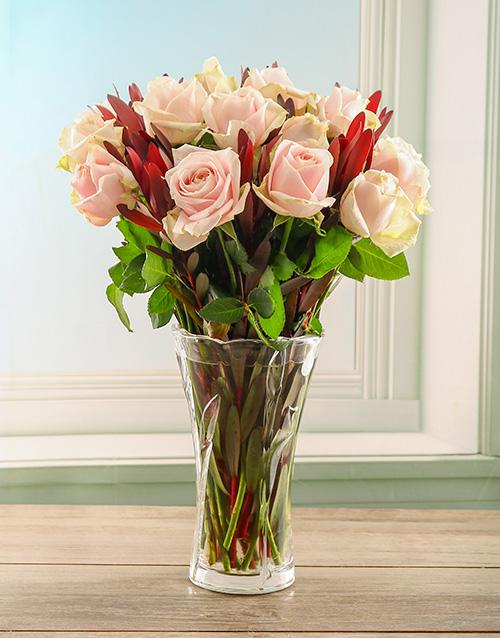 colour: Gentle Blush Arrangement in a Crystal Vase!