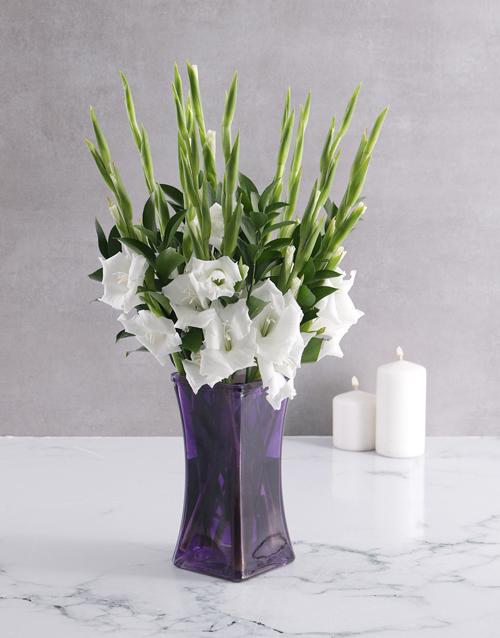gladiolus: Peaceful Gladiolus in a Purple Vase!