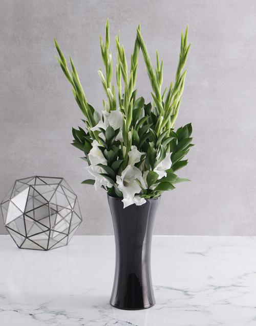 coloured-vases: Black and white Gladiolus vase!