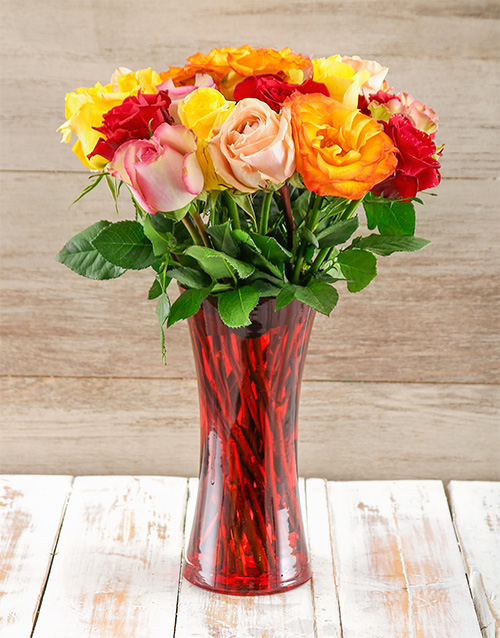 flowers: Giant Ethiopian Roses in a Red Vase!