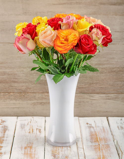 colour: Colourful Giant Ethiopian Roses in a White Vase!
