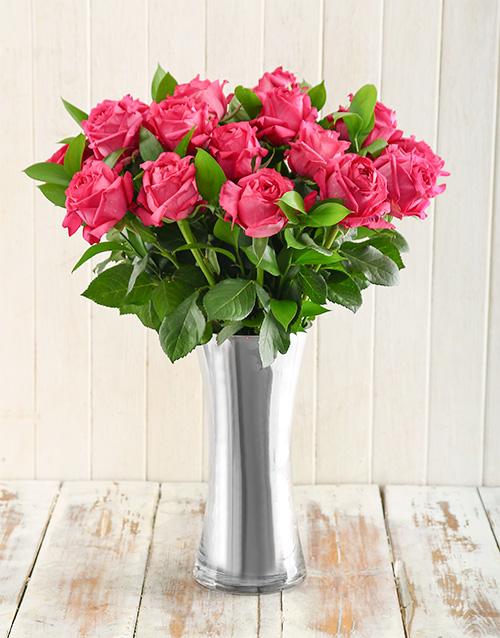 colour: Cerise Arrangement in a Silver Vase!