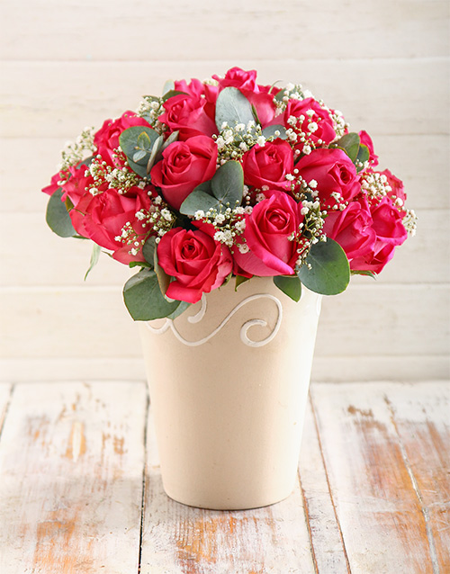 pottery: Charming Cerise Roses in Pottery Vase!