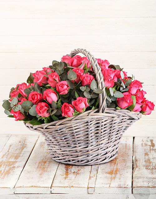 roses: Basket of Cerise Roses!