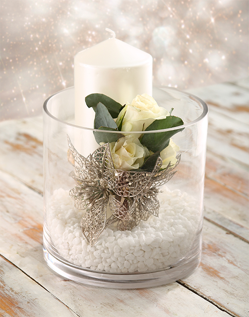 flowers: Christmas Candle Arrangement!