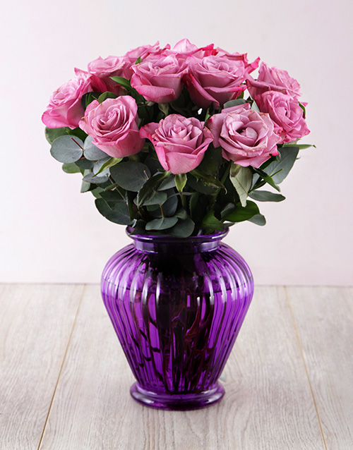 coloured-vases: Lilac Roses in a Purple Lantern Vase!